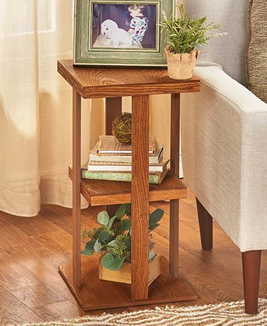 Rustic Wood Rustic Finish Square Side Table