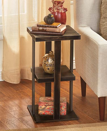 Distressed Black Rustic Finish Square Side Table