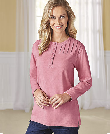 Long Sleeve Pintuck Tops