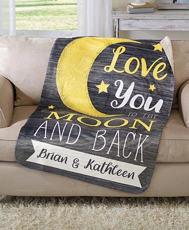 Personalized Couples Love you to the Moon Sherpa Throw