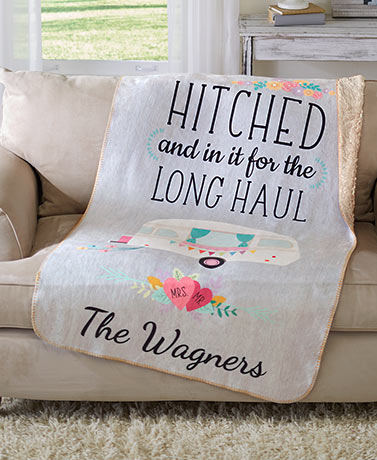 Personalized Couples Hitched Sherpa Throw