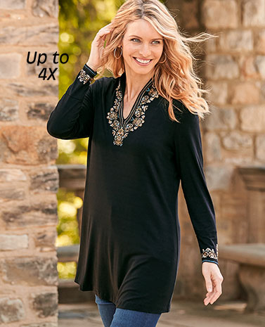 Print Embroidery Black Tunic
