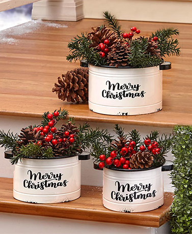 Enamelware Holiday Yard Stakes or Planters