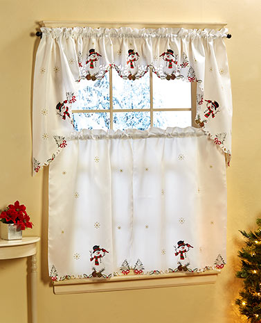 Embroidered Snowman Curtains