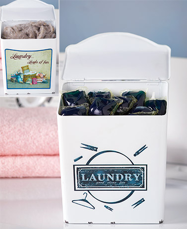 Enamel Laundry Room LintPod Boxes
