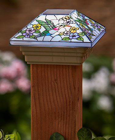 Stained Glass Solar Post Cap Lights
