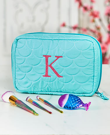 Monogram Mermaid Makeup Bag with Brushes