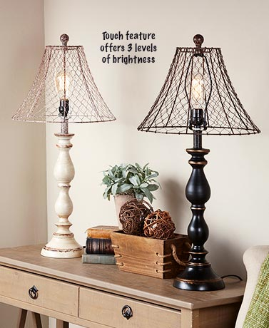 Country Chicken Wire Touch Lamps
