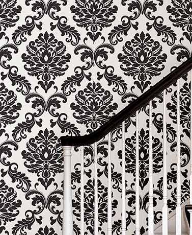 Black Damask NuWallpaper™ Peel and Stick Wallpaper