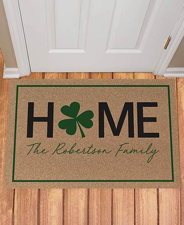 Personalized HOME Four-Leaf Clover Doormat
