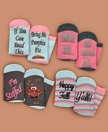4-Pair Harvest Novelty Holiday Slipper Socks
