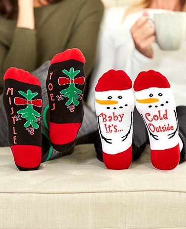 4-Pair Novelty Holiday Slipper Socks