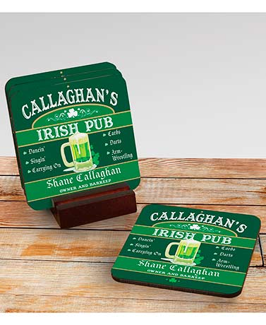 Set of 4 Personalized Irish Pub Coasters