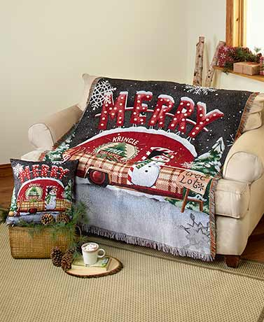 Holiday Tapestry Throw or Pillow
