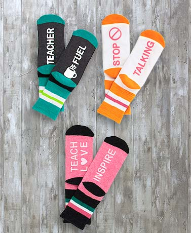 3-Pair Novelty Teacher Occupational Slipper Socks