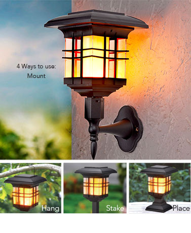 4-In-1 Solar Flickering Flame Lantern