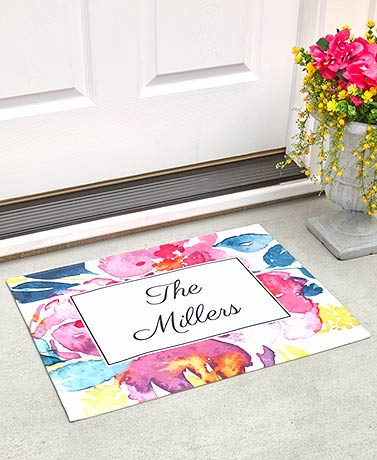 Personalized Watercolor Floral Collection - Doormat