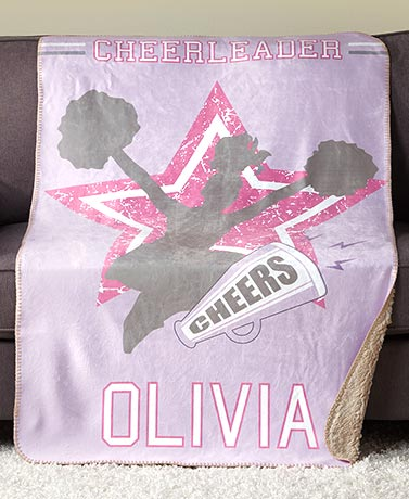 Personalized Sports Cheer! Sherpa Throw