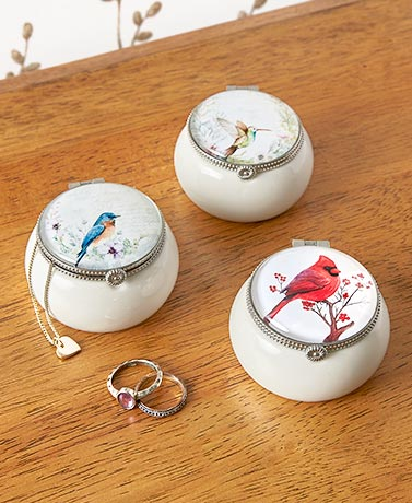 Vintage Bird Keepsake Boxes