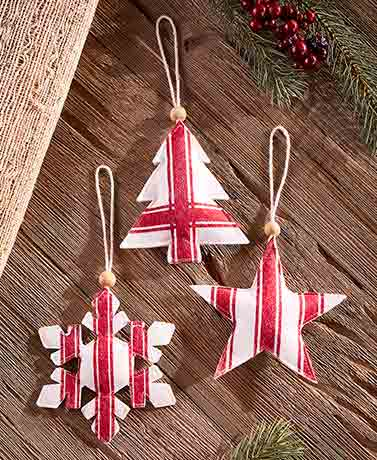 Set of 3 Country Felt Ornaments