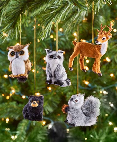 Furry Woodland Animal Ornaments