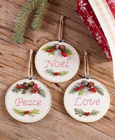 Embroidery Hoop Sentiment Ornaments
