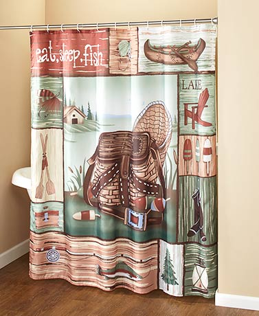 Gone Fishing Bathroom Collection - Shower Curtain w Hooks