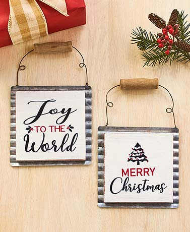 Set of 2 Galvanized Sign Ornaments