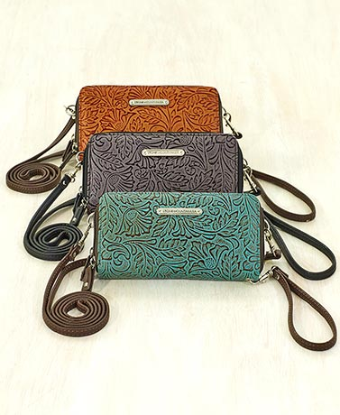 Stone Mountain Embossed Leather Crossbody Wallets