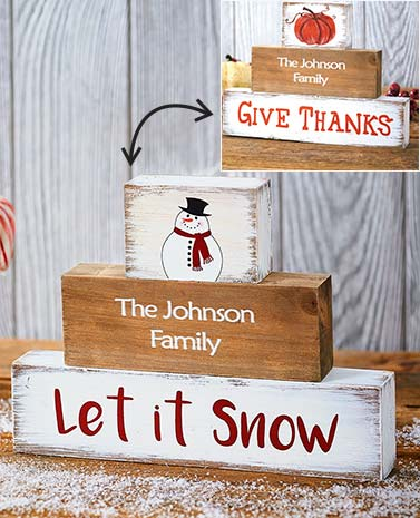 Personalized Tabletop Seasonal Block Set