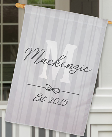 Personalized Double-Sided House Flags - Gray Monogram