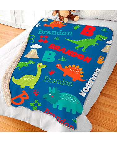 Personalized Kids' Sherpa Throws - Dinosaur