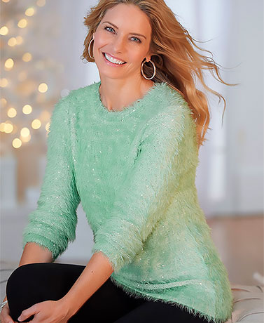 Sequin Eyelash Yarn Sweaters