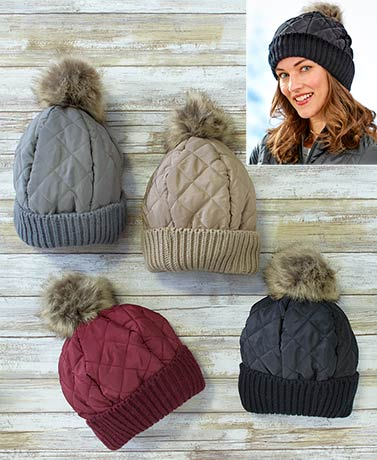 Fleece-Lined Quilted Pom-Pom Hats