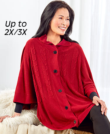 Button-Front Sweater Ponchos