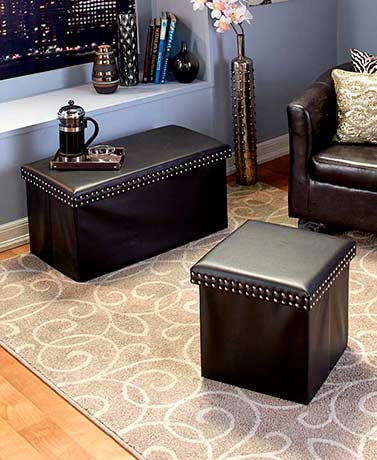 Faux Leather Storage Ottoman or Bench - Black