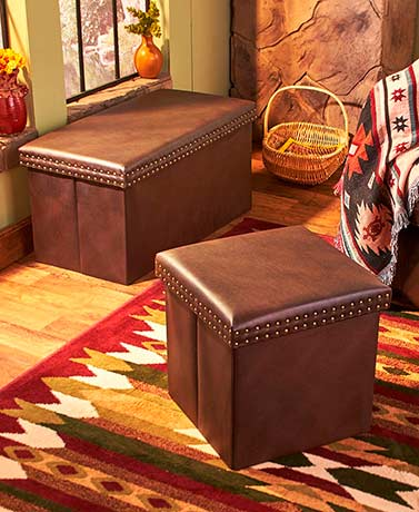 Faux Leather Storage Ottoman or Bench - Brown