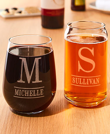 Personalized Etched Wine or Beer Glasses