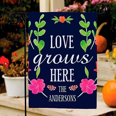 Love Grows Personalized Spring Flag