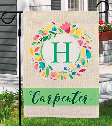 Monogram Wreath Personalized Spring Flag