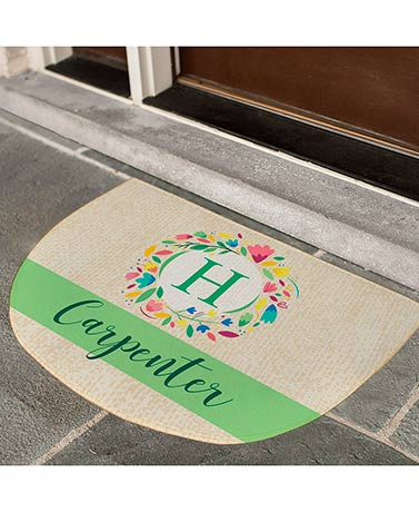 Monogram Wreath Personalized Spring Doormat