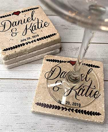 Personalized Travertine Stone Coaster Sets