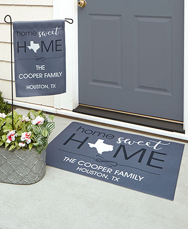 Personalized HOME State Doormat or Garden Flag