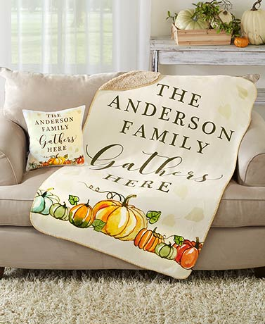 Personalized Harvest Sherpa Throw or Pillow