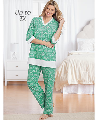 Printed Knit Pajamas