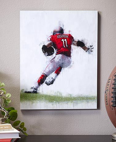 Personalized Football Player Wall Art