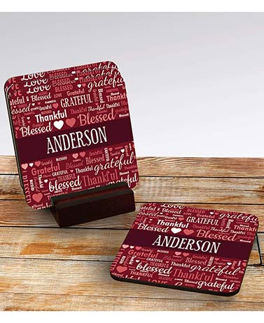 Sets of 4 Personalized Word Art Coasters