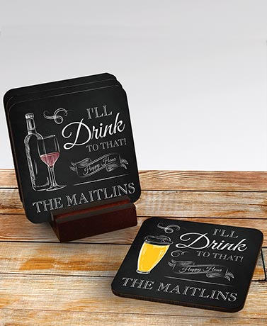 Set of 4 Personalized Happy Hour Coasters