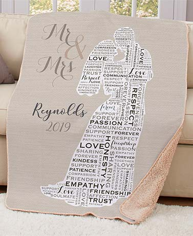 Personalized Word Art Wedding Sherpa Throw
