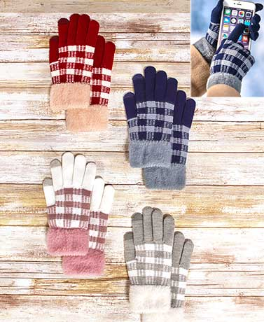 Women's Plaid Touch Screen Gloves